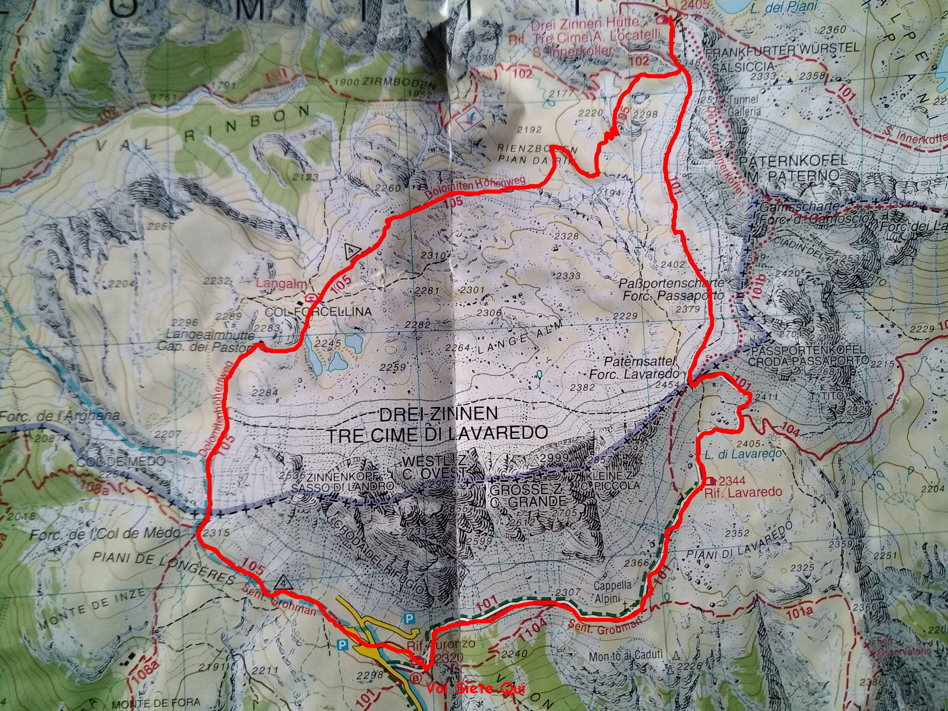 Cartina 3 Cime Di Lavaredo.Anello Tre Cime Di Lavaredo Invernale Eea Itinerari Trekking